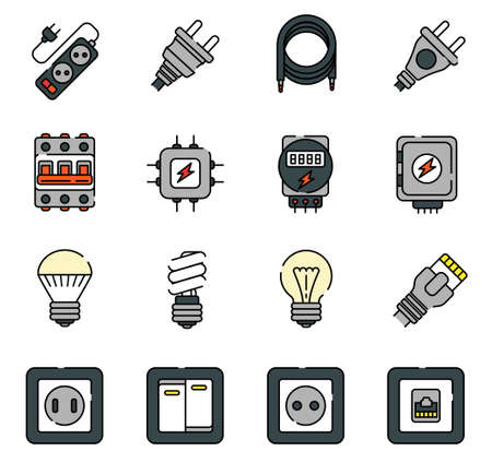 wiring and electricity in the house line icons 矢量图像