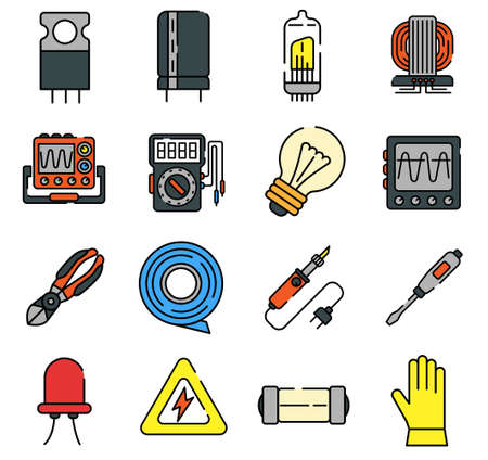 Electrical engineering and electronics repair color line icons
