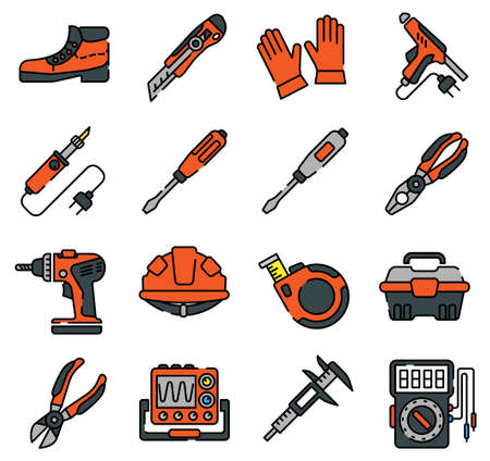 Equipment and outfit of an electrician line icons