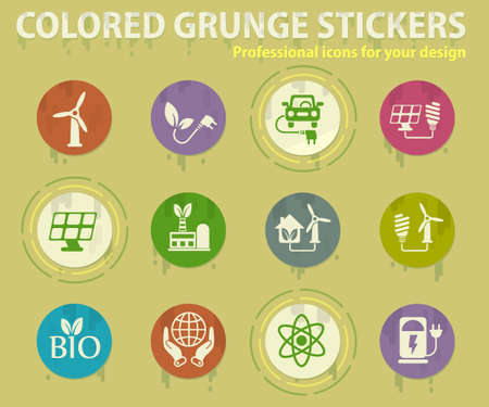 Alternative energetics colored grunge icons with sweats glue for design web and mobile applications