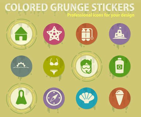 Relaxing on the beach colored grunge icons with sweats glue for design web and mobile applications