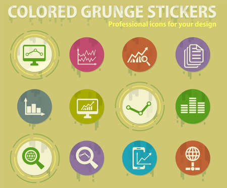 data analytics colored grunge icons with sweats glue for design web and mobile applications Ilustracja