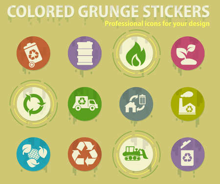 Recycling colored grunge icons with sweats glue for design web and mobile applications