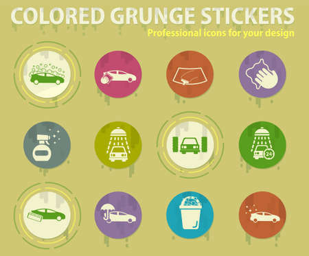 Carwash colored grunge icons with sweats glue for design web and mobile applications