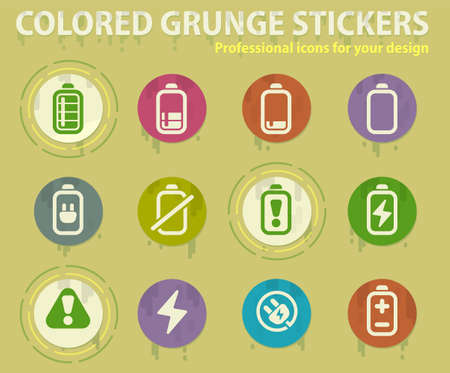 Battery colored grunge icons with sweats glue for design web and mobile applications