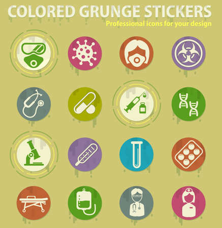 Coronavirus colored grunge icons with sweats glue for design web and mobile applications Ilustracja