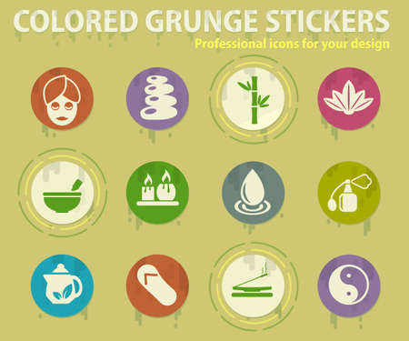 SPA colored grunge icons with sweats glue for design web and mobile applications Ilustracja