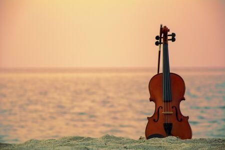 Close up of a Violin at the beach