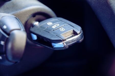 Starting the car - car key in ignition lock Banque d'images
