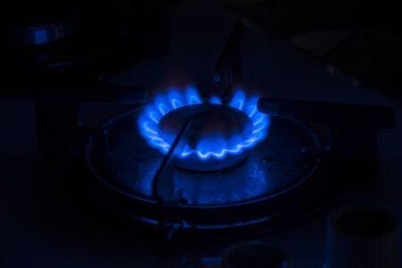 Gas burner in the dark Archivio Fotografico