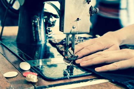 kit de costura: M�quina de coser de la vendimia Foto de archivo