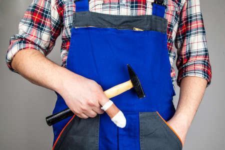 sick leave: Craftsmen Accident Prevention Stock Photo
