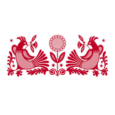 Two red fantastic birds on a white background Illustration