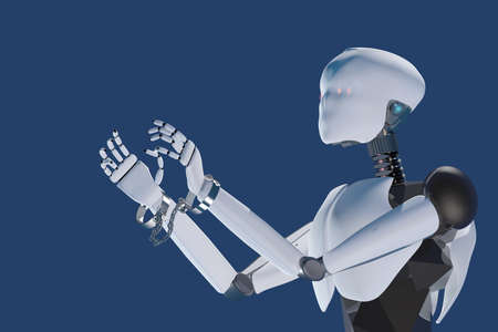 3D render of humanoid artificial intelligence robot slaved by handcuffs on the wrists