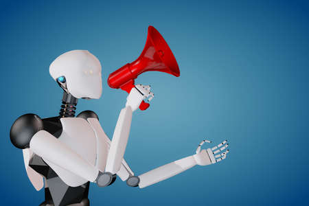 3D render of humanoid artificial intelligence robot holding a red megaphone announcing politely Banque d'images - 115248390