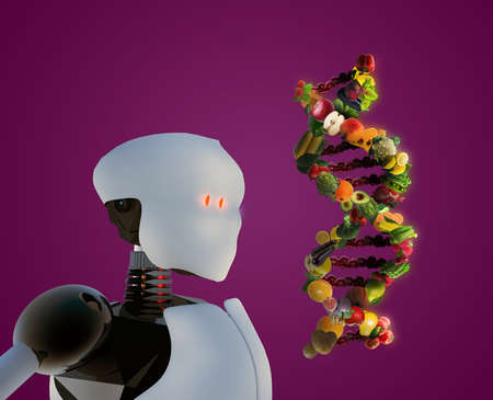 Humanoid robot holding nutrigenetics concept DNA strand made with healthy fresh vegetables and fruits. Banque d'images - 115248398