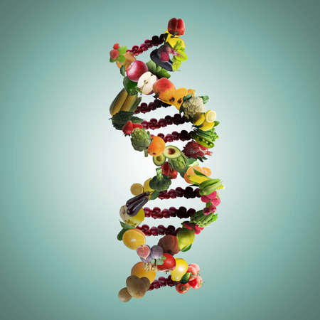 Nutrigenetics concept DNA strand made with healthy fresh vegetables and fruits. Banque d'images - 115248418