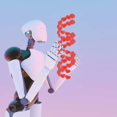 3D illustration of Humanoid robot researching human DNA by a hologram and learning about love. Helix structure is made from heart shaped molecules Stock Photo