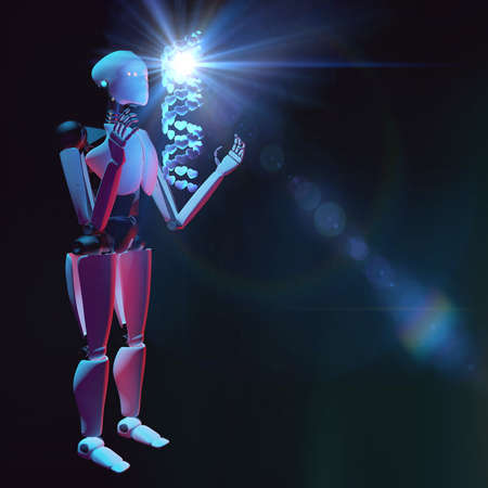 3D illustration of Humanoid robot researching human DNA by a hologram and learning about love. Helix structure is made from heart shaped molecules Banque d'images - 115248446