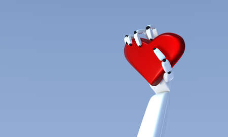 3D illustration of Humanoid robot learning about love. Banque d'images - 115248451
