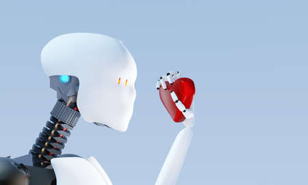 3D illustration of Humanoid robot learning about love. Banque d'images - 115248454