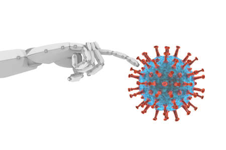 Robotic touch to virus examination and research for cure Banque d'images