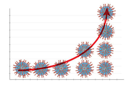 Corona Virus covid19 rising graphic chart showing the danger of death rate Banque d'images