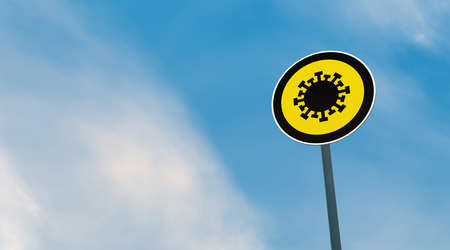 Corona Virus (Covid-19) traffic signs on the road