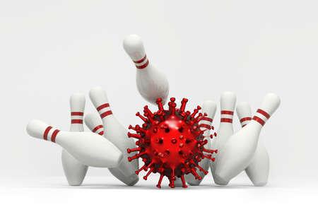 Rolls a bowling ball shaped Corona virus Covid-19 toward pins for chain reaction concept 版權商用圖片
