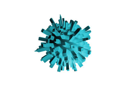 Virus shaped big city structure, concept of virus pandemic caused by being crowded and over population Banque d'images