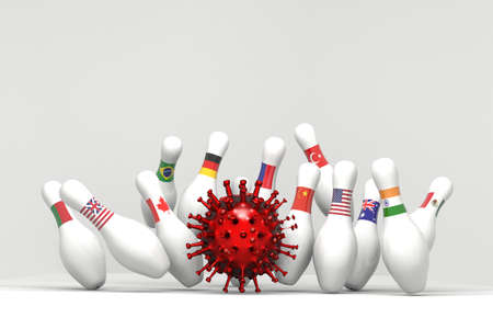 Covid19 Virus bawling ball impact on pins each represent a country with a flag, how the virus is spreading all over the world, 3d rendering on white background.