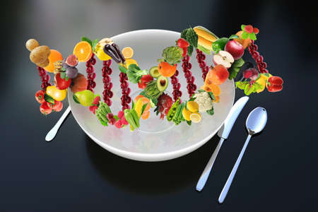 Genetic science interested in nutrition genetics is called Nutrigenetics. DNA strand made of fresh and healthy fruits and vegetables concept and idea