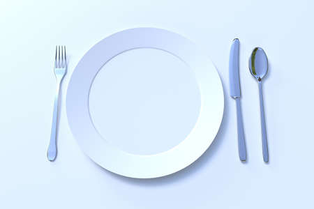 Ready to serve empty and clean plate knife, spoon and fork Banque d'images