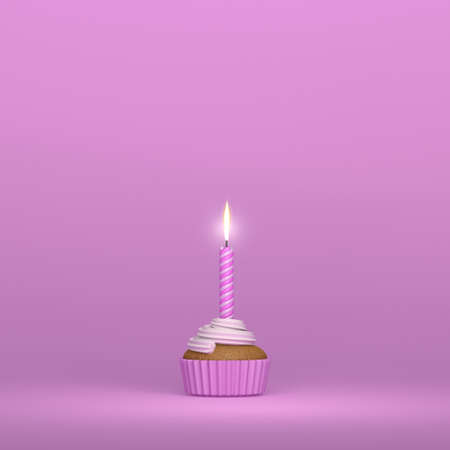 A birthday candle lighting on a creamy muffin cupcake on a blue background and pink colors with copy space