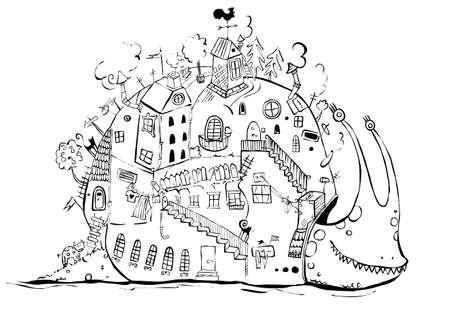 noir et blanc: bande dessin�e escargot blanc noir Illustration