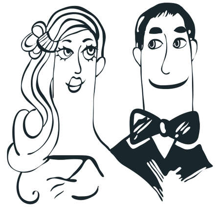 funny bride and groom Vector