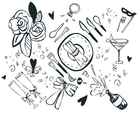wedding party elements graphic Vector