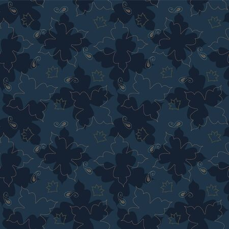 Navy Blue elegant floral seamless repeat pattern