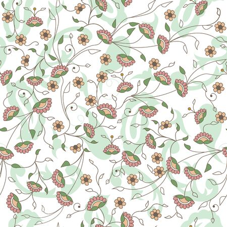 Floral branches seamless repeat pattern in white  イラスト・ベクター素材