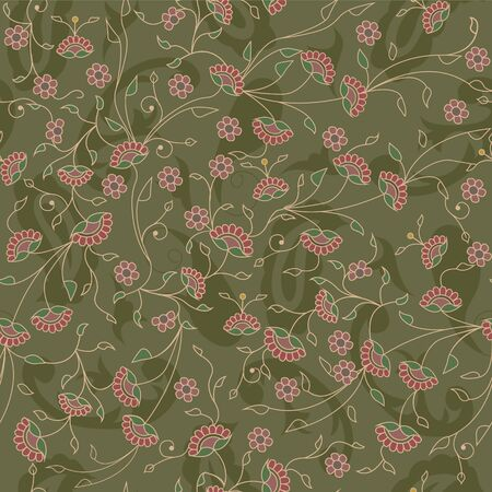 Floral branches seamless repeat pattern in green
