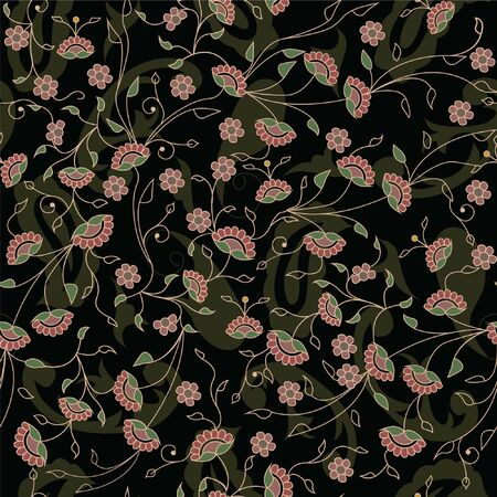 Floral branches seamless repeat pattern in black  イラスト・ベクター素材