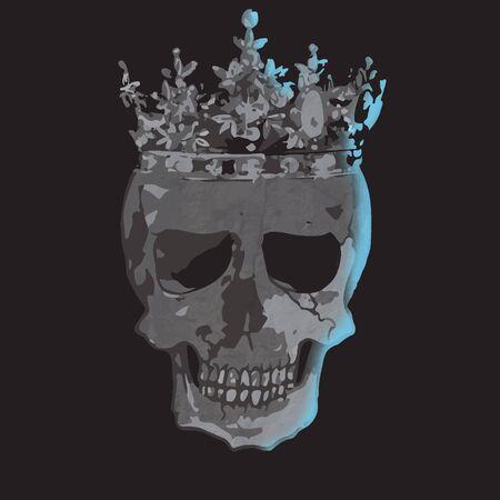 Black and white skull with crown vector art Standard-Bild - 143764425
