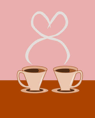 Two cups of hot coffee with steam rising and intertwining in shape of a heart. Editable vector.