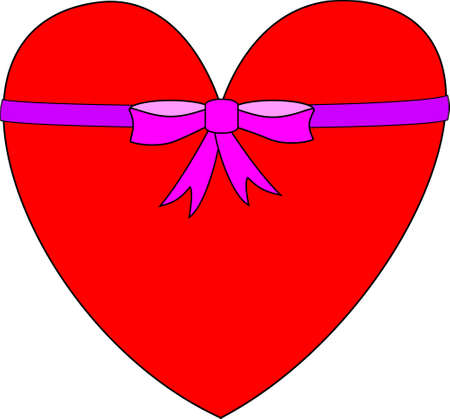 A red heart with a pink bow and ribbon around it.