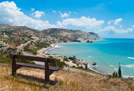 tou: bench at observation point over Petra tou Romiou in Cyprus Stock Photo