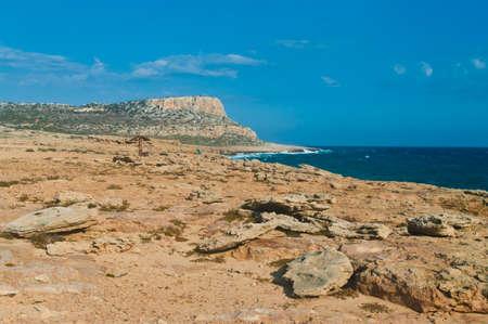 stony coral: rocky coast and rough sea at cape greco, cyprus