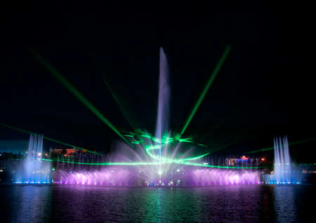 laserfountain  show over Suseong Lake in Daegu, south korea