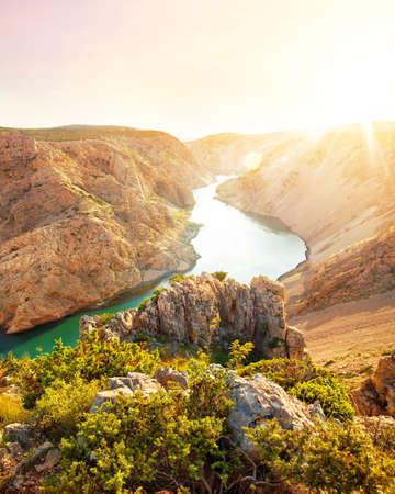 beautiful view of Zrmanja canyon and river at sunset on sunny summer day, Dalmatia, Croatia
