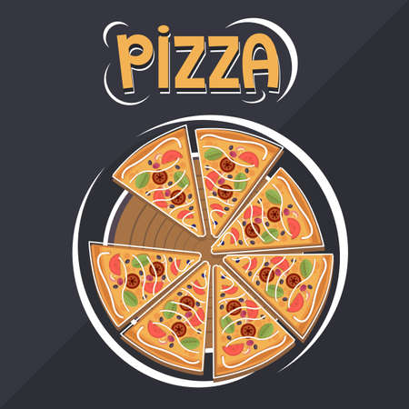 Pizza flat design for web or photo  イラスト・ベクター素材