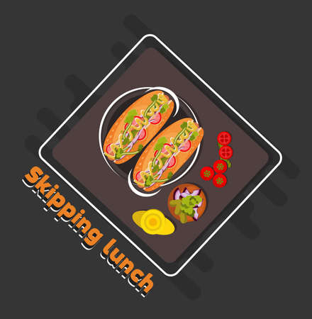 Skipping lunch flat design